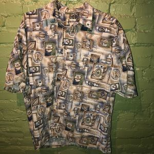 Men's Hawaiian camp shirt XL beer cans casual